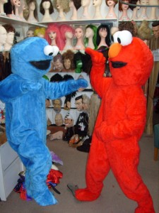 Elmo and Cookie Mascots